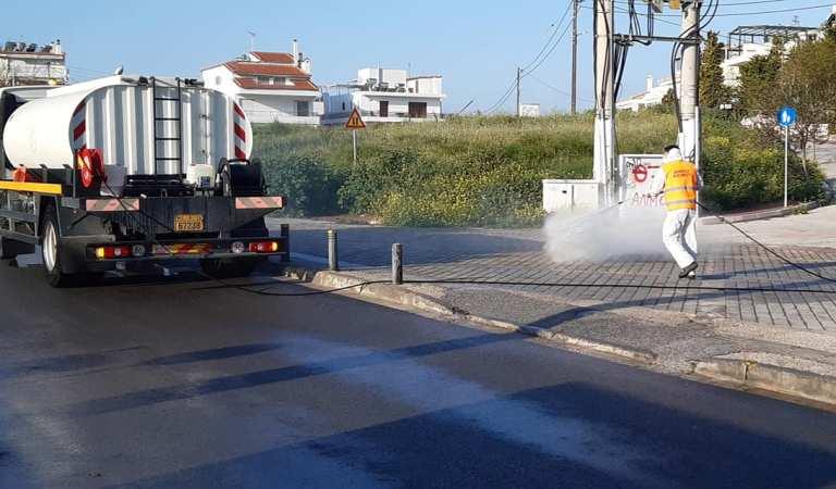 Απολύμανση γίνεται σε δρόμους, πεζοδρόμια και κοινόχρηστους χώρους του Αλίμου
